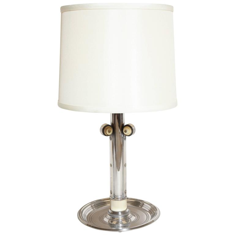 Boin-Taburet French Art Deco Silver Plated and Bone Lamp For Sale