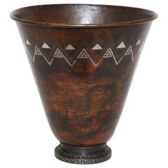 Claudius Linossier French Art Deco Copper, Silver & Wrought Iron Dinanderie Vase