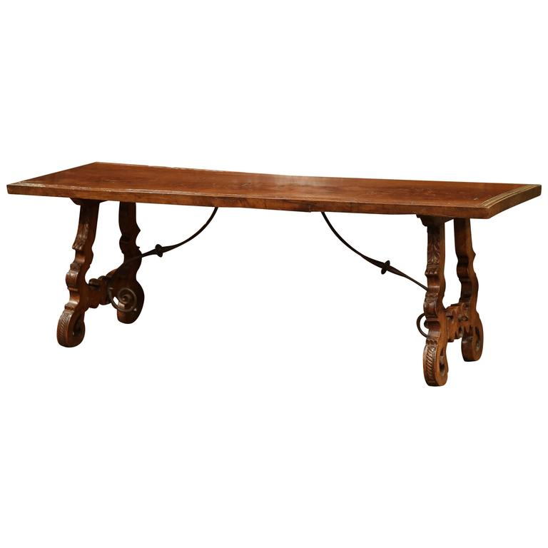 Early 19th Century Spanish Carved Walnut Coffee Table With Iron Stretcher At 1stdibs