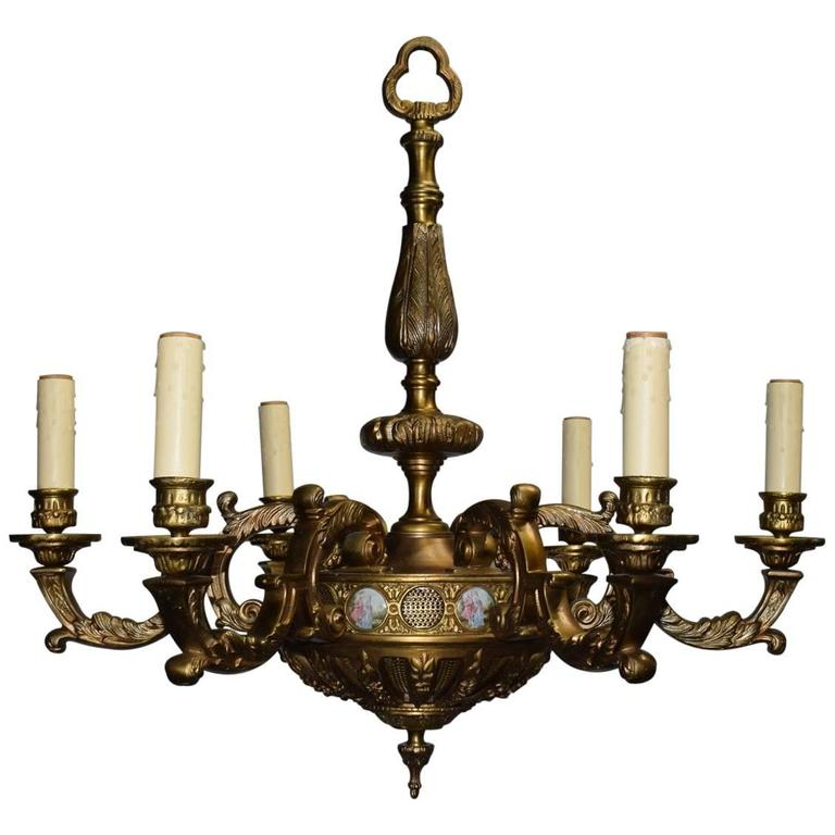 Antique Chandelier, Bronze with Porcelain Plaques 1 - Antique Chandelier, Bronze With Porcelain Plaques For Sale At 1stdibs