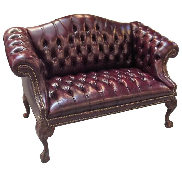 Cordovan Leather Camel Back Settee At 1stdibs