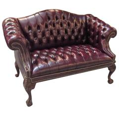 Cordovan Leather Camel Back Settee
