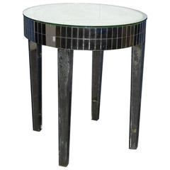 Mid-20th Century Circular Mirrored Side Table