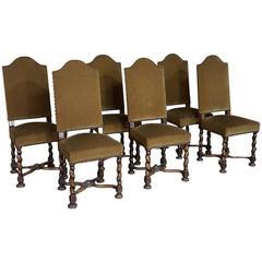 Set of Six Louis XIII Barley Twist Walnut Chairs
