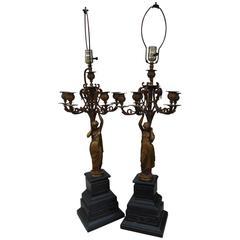 Pair of Jean-Jules Salmson Candelabra Lamps
