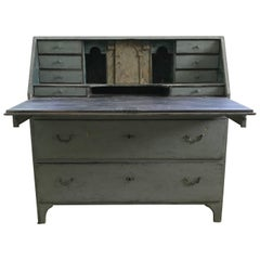 18th Century Swedish Drop Front Secretary with Faux Marble Painted Interior