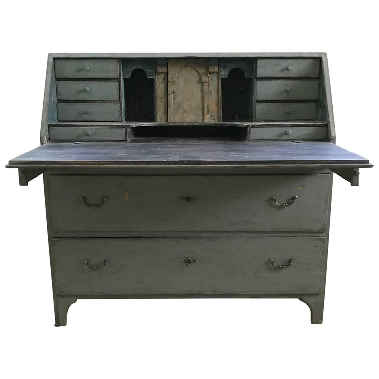 18th Century Swedish Drop Front Secretary with Faux Marble Painted Interior For Sale