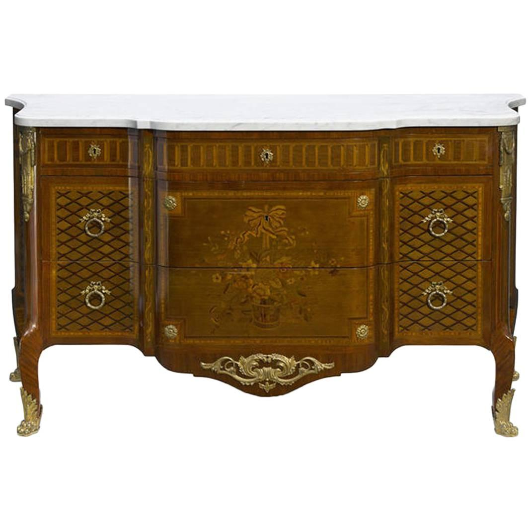 French Parquetry and Marquetry Ormolu-Mounted Commode, 19th Century