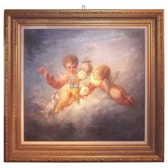 Boucher Styled Cherubs or Putti Frolicking Oil on Canvas
