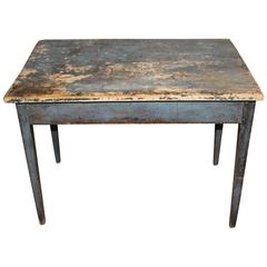Early 19th Century American Pine Work Table in Old Blue Paint