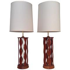 Pair of Toni Paul Teak Mid-Century Lamps