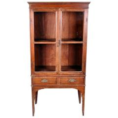 Lanna Thai Teak Wood Display Cabinet with Two Drawers