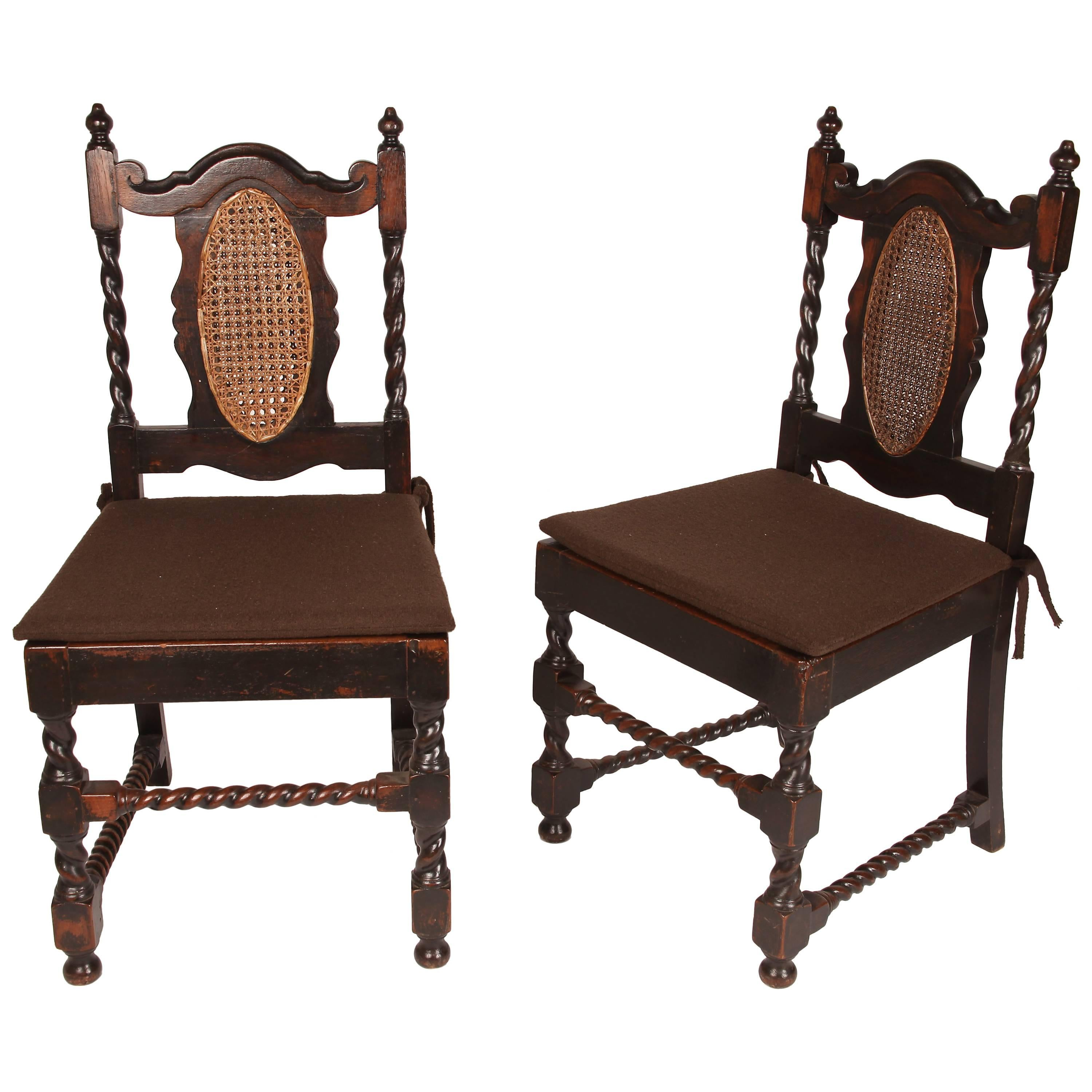 British Colonial Side Chairs with Barley Twist Spindles