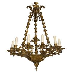 Antique Chandelier, Gilt Iron