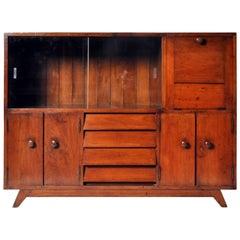 British Colonial Teak Wood Bar Cabinet