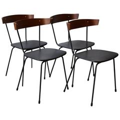 Set of Four Iron and Bent Wood Back Dining Chairs, Style of Paul McCobb