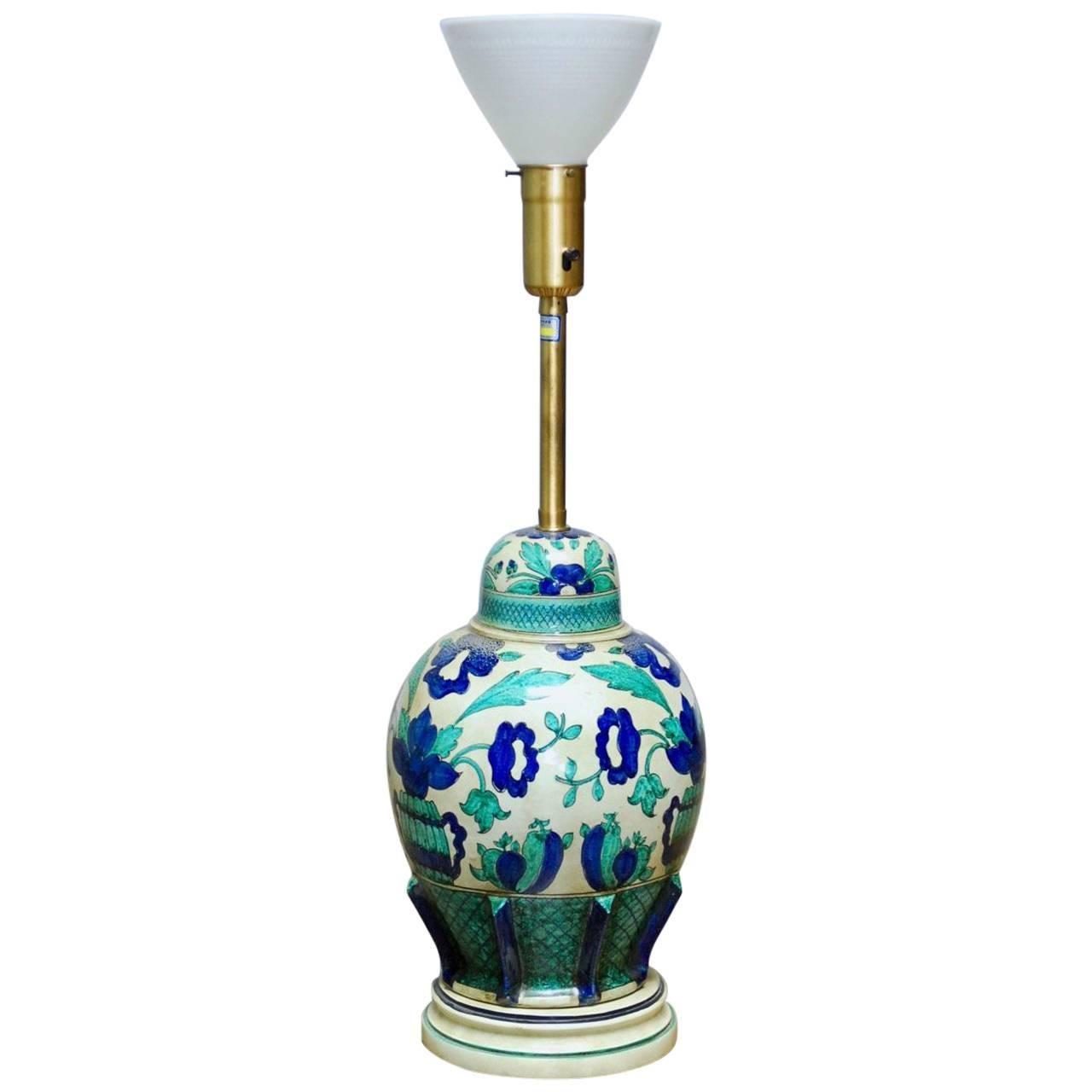 Italian Ceramic Faience Table Lamp by Marbro