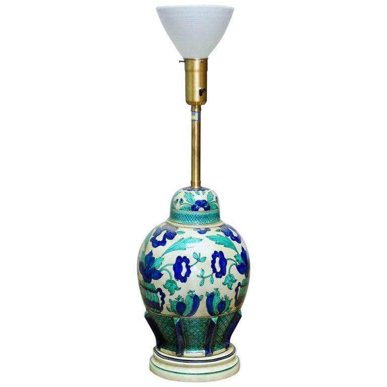 Italian Ceramic Faience Table Lamp by Marbro For Sale