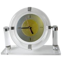 Lucite Stainless Steel Postmodern Mantle Clock