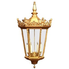 Large Mid-20th Century French Louis XVI Carved Gilt Six-Light Hexagonal Lantern