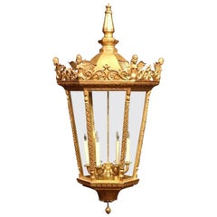 Mid-20th Century French Louis XVI Carved Giltwood Six-Light Lantern