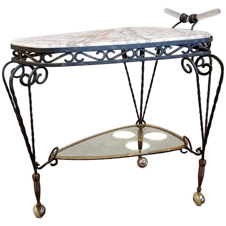 Art Deco Wrought Iron Marble-Top Bar Cart