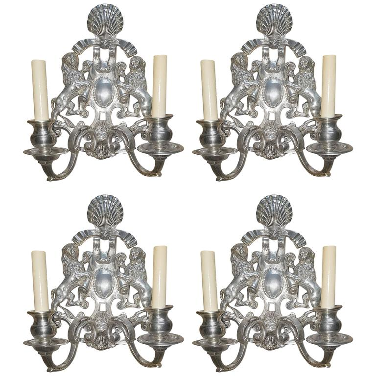 Set of Four Silver Plated Sconces with Double Lights