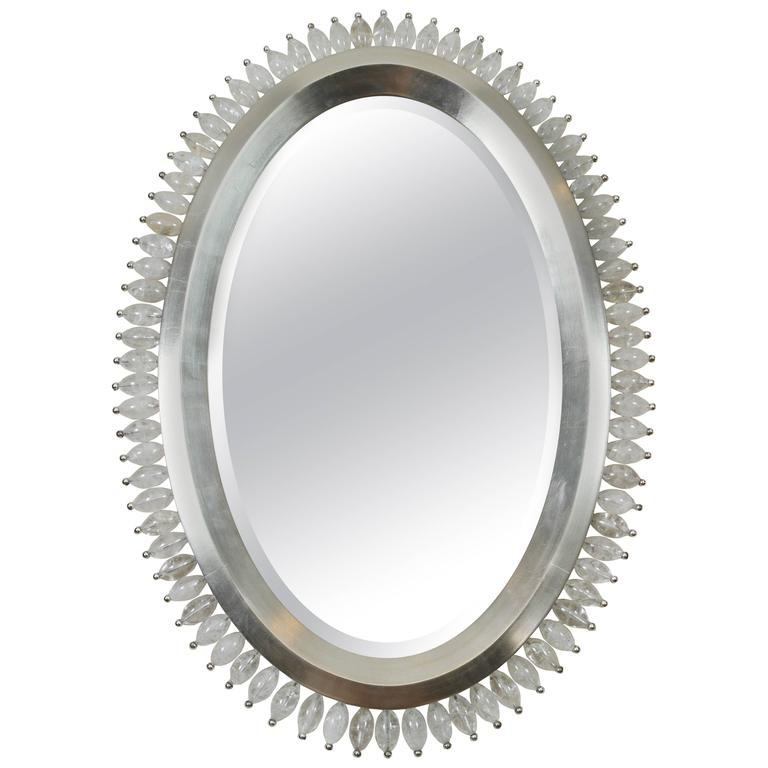 white gold and rock crystal oval mirror for sale at 1stdibs