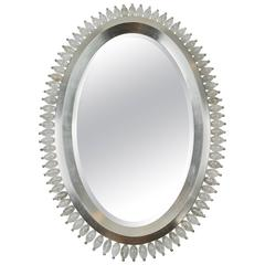 White Gold and Rock Crystal Oval Mirror