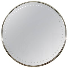 Impressively Scaled Round Mirror with Antique Silver Finish Deco /Modern