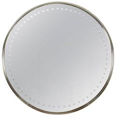 Impressively Scaled Round Mirror with Antique Silver Finish