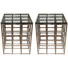 Pair of Tall Chrome Grid Form Tables with Glass Tops