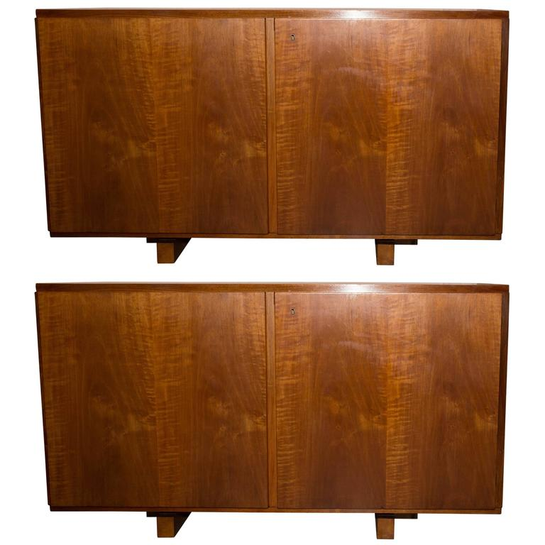 pair of wood cabinets with interior shelves at 1stdibs. Black Bedroom Furniture Sets. Home Design Ideas
