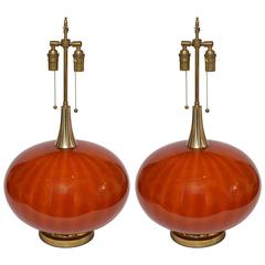 Pair of Orange Murano Glass Orb Shaped Lamps with Brass Detail