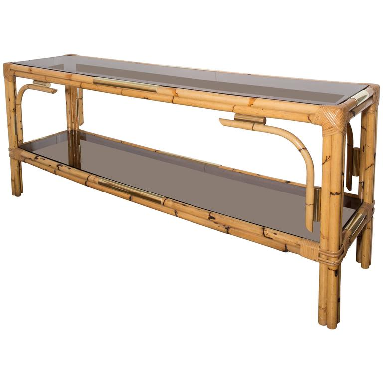 Bamboo Console Table With Two Tinted Glass Shelves And Brass Detail 1