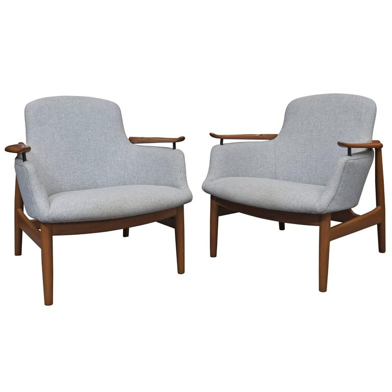 Pair of Finn Juhl NV 53 Lounge Chairs For Sale