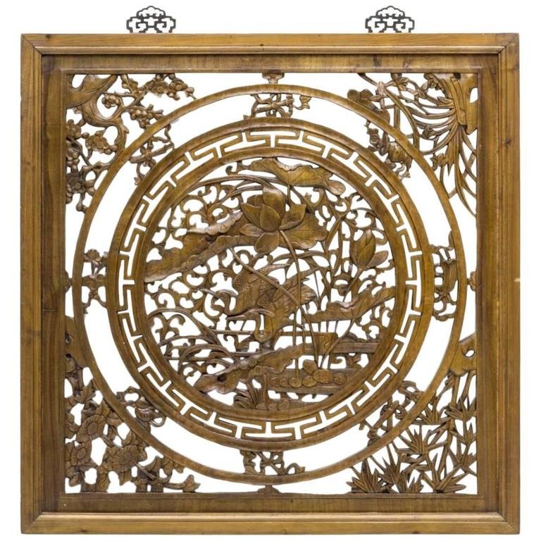 Modern chinese carved and pierced sandalwood square window for Window screens for sale