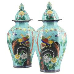 Pair of Qing Dynasty Chinese Turquoise Color Cloisonné Covered Jars