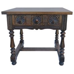 Spanish Side Table with Walnut Slab Table