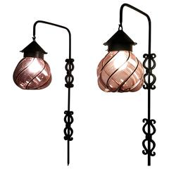 Seguso Murano Caged Amethyst Glass and Iron Pendant Sconces, Italy