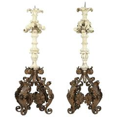Pair of Italian Carved Wood and Wrought Iron Torchieres, 19th Century