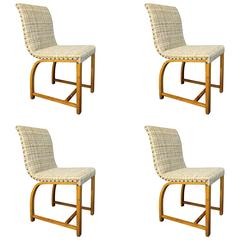 Set of Four Gilbert Rohde Art Deco Dining Chairs for Heywood Wakefield