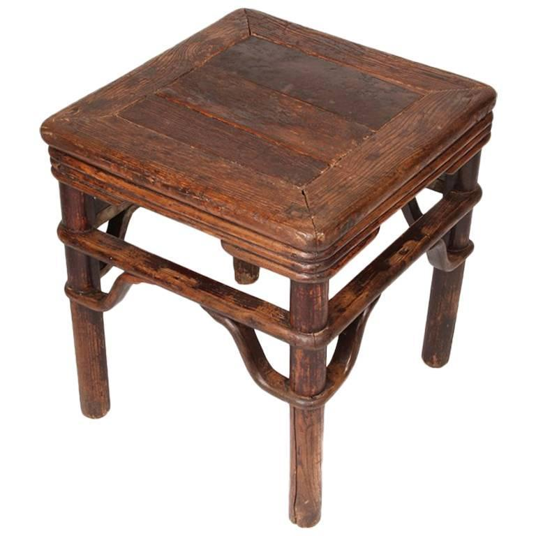 Chinese Square Stool with S-Shape Spandrels