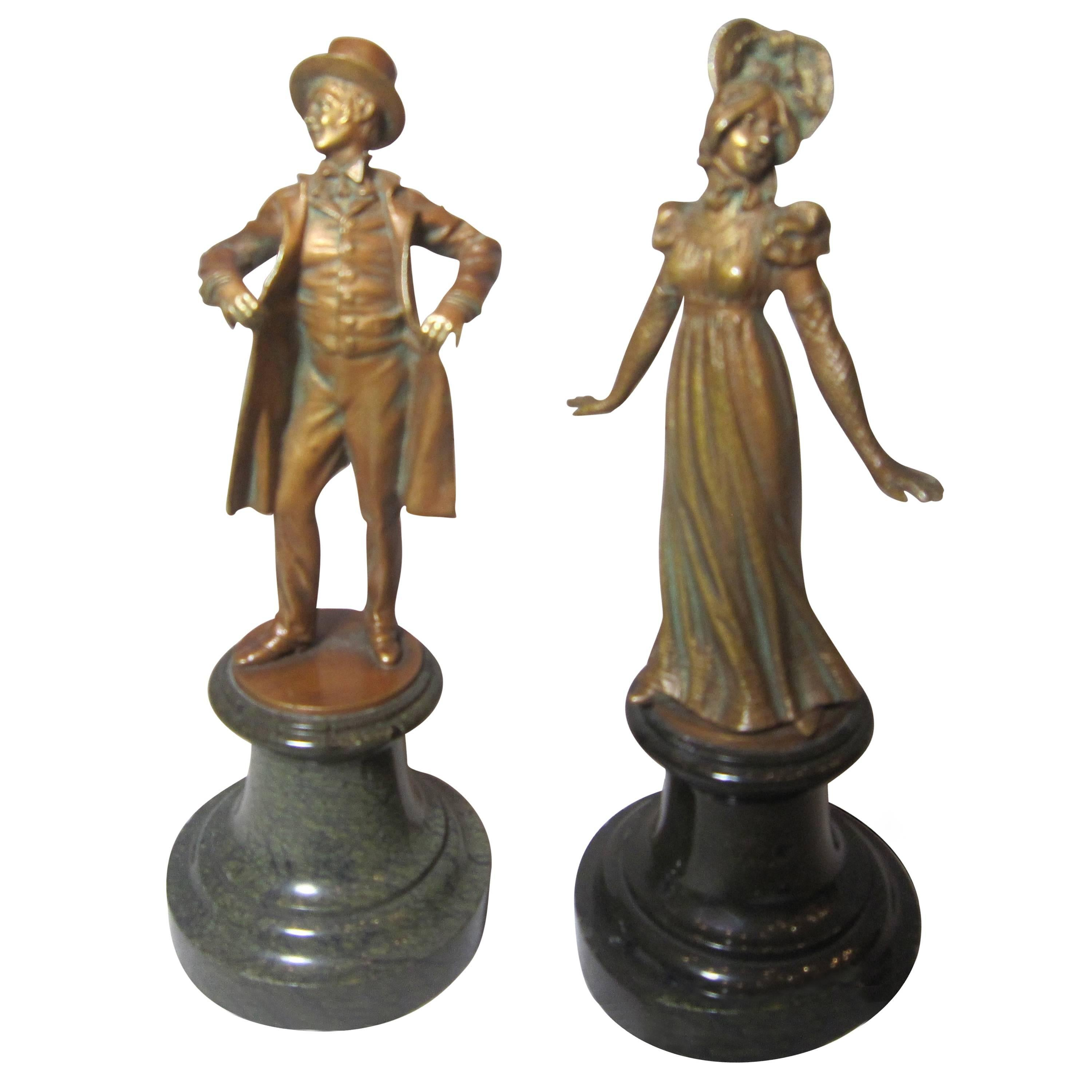 Pair of Exceptionally Detailed Bronze Statues ca. 1890