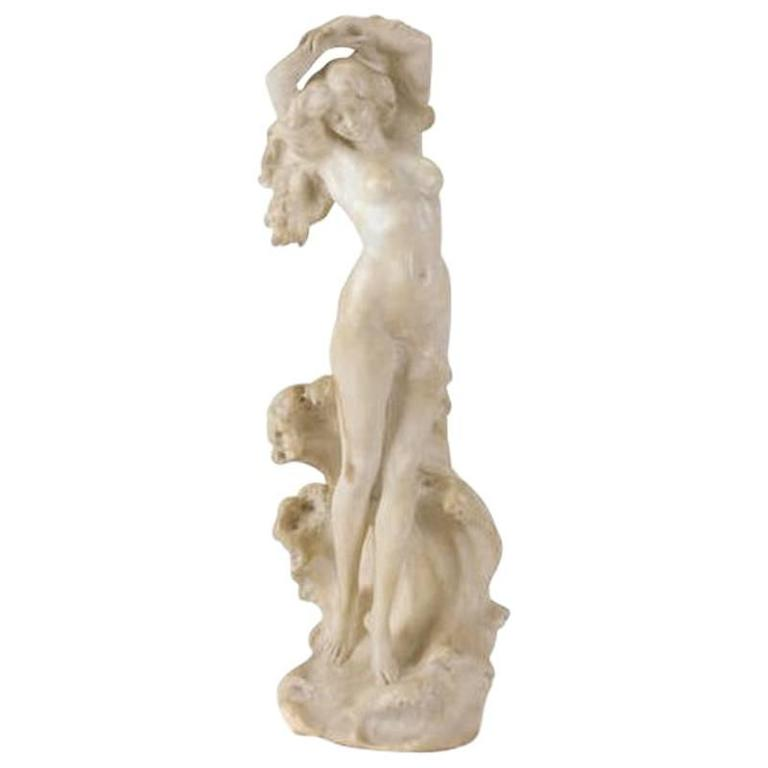 Italian Carved Alabaster Figure of Hemera, Late 19th Century