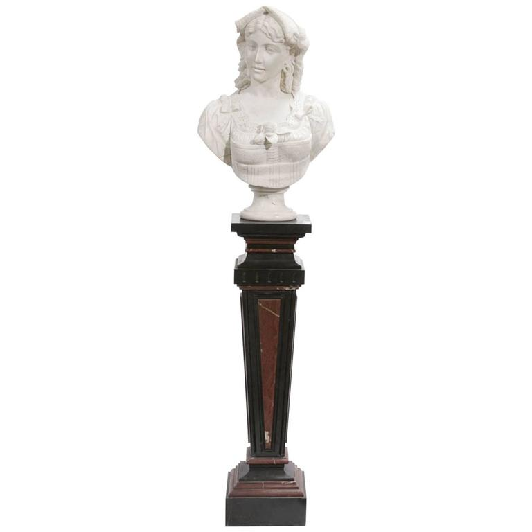 Italian Carved Marble Bust on Marble Pedestal