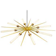 Modern European Eight-Bulb Starburst Anodized Aluminium Brass Chandelier