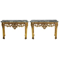Pair of Italian Carved Giltwood Consoles, 19th Century
