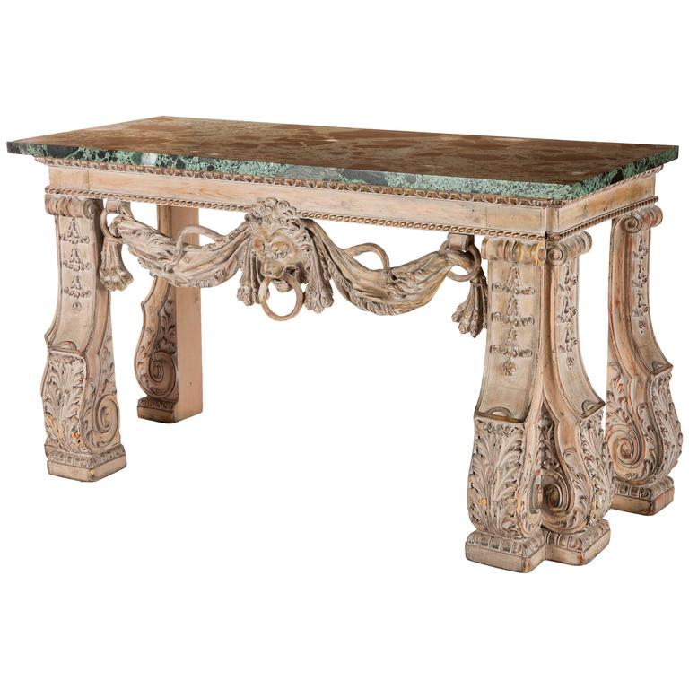English William Kent Style Carved Wood Console Table 19th Century