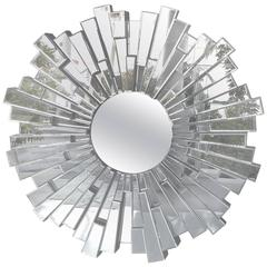 Modernist Sculptural Beveled Sunburst Wall Mirror
